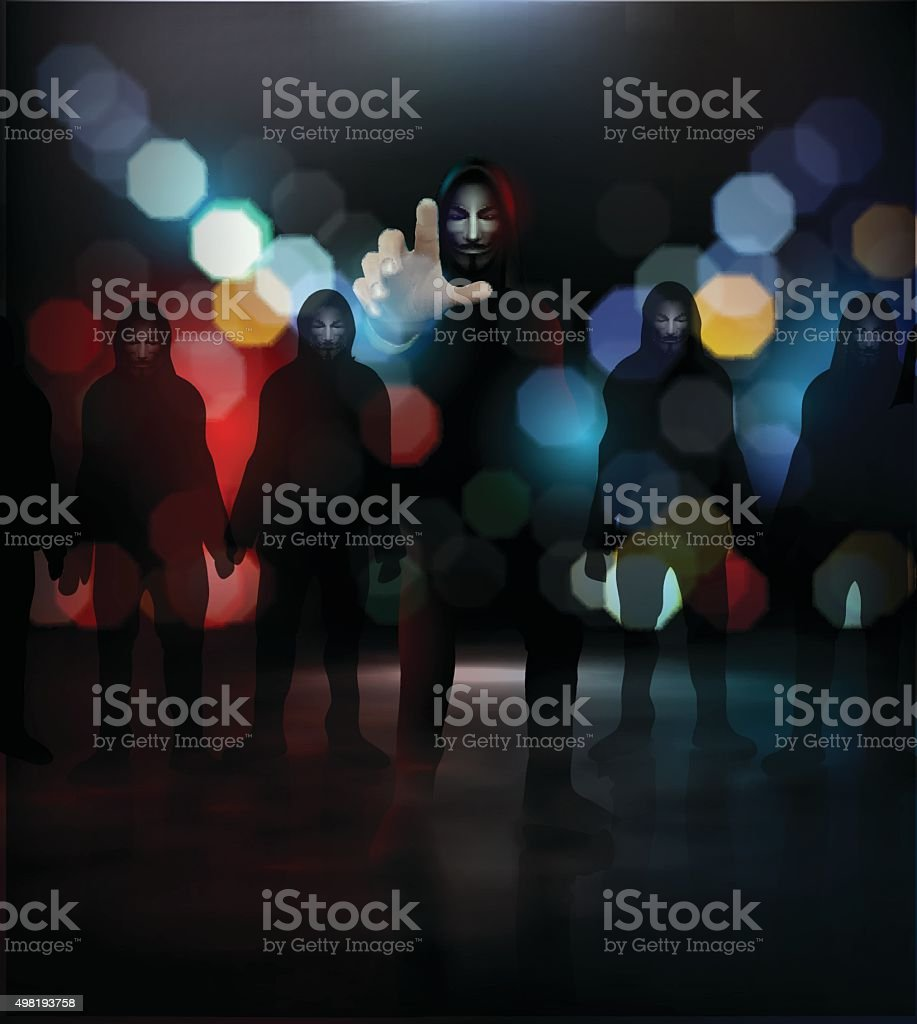 Anonymous group on nigh street vector art illustration