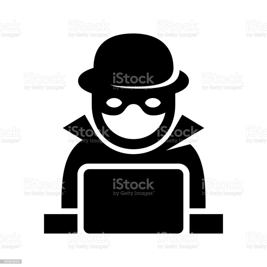 Anonymous Hacker Spy Icon Searching on Laptop. Vector vector art illustration