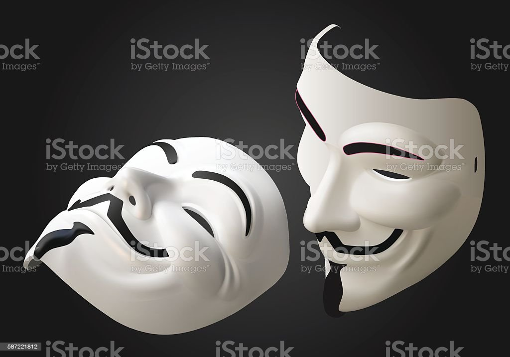 anonymous mask vector 3d isometric vector art illustration