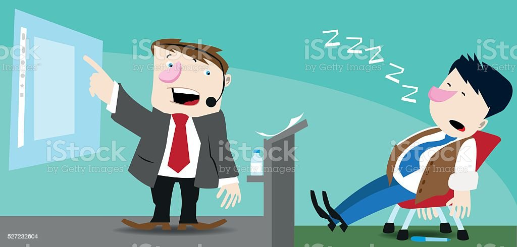Another boring presentation vector art illustration