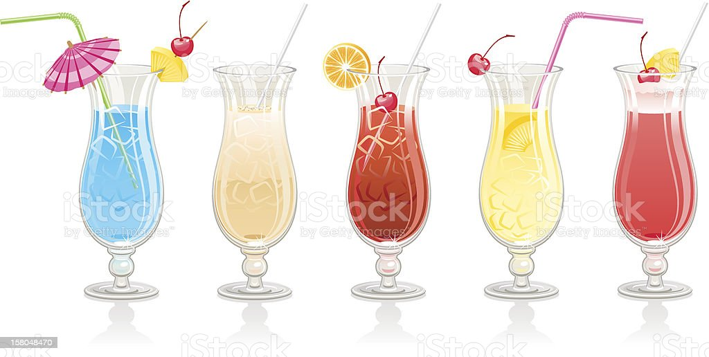 Another five cocktails vector art illustration