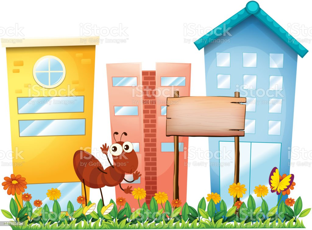 Ant beside signboard in front of the buildings royalty-free stock vector art