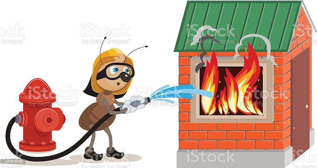 Ant firefighter extinguishes house vector art illustration