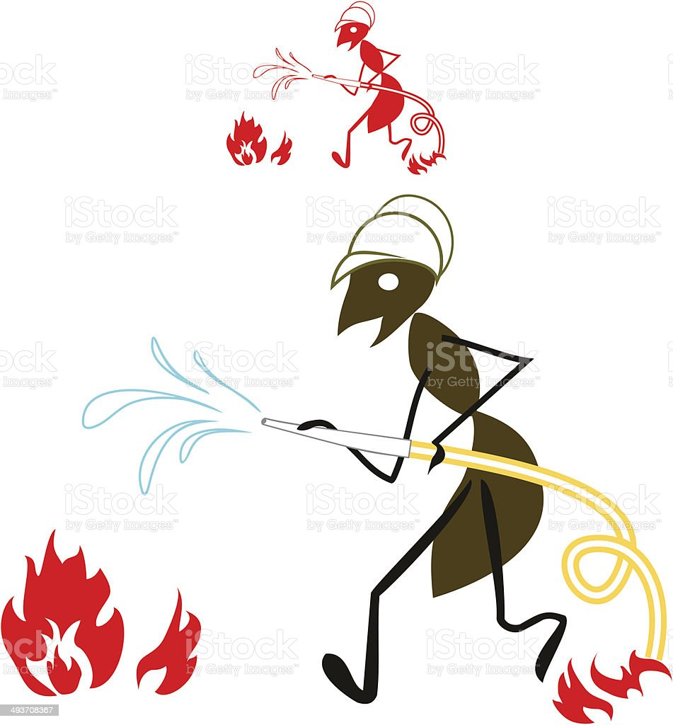 ant fireman vector art illustration