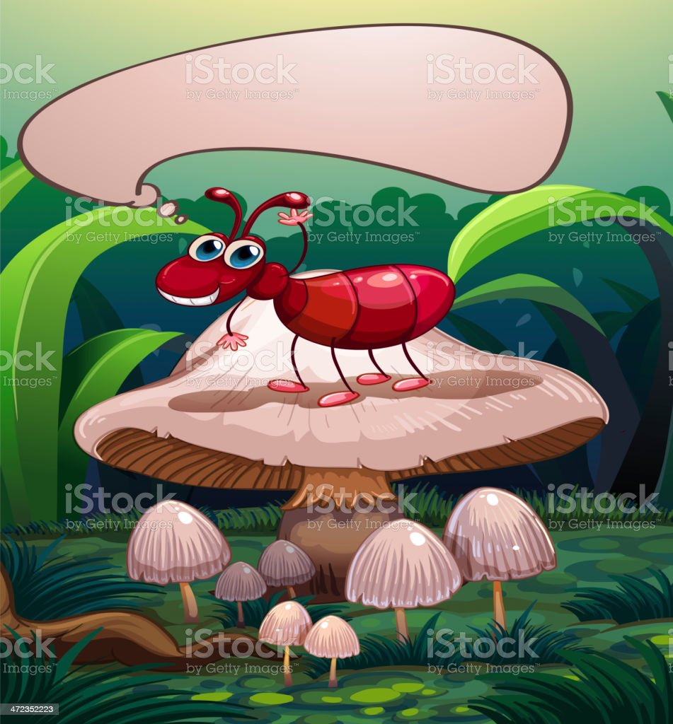 ant with an empty callout standing above a mushroom royalty-free stock vector art