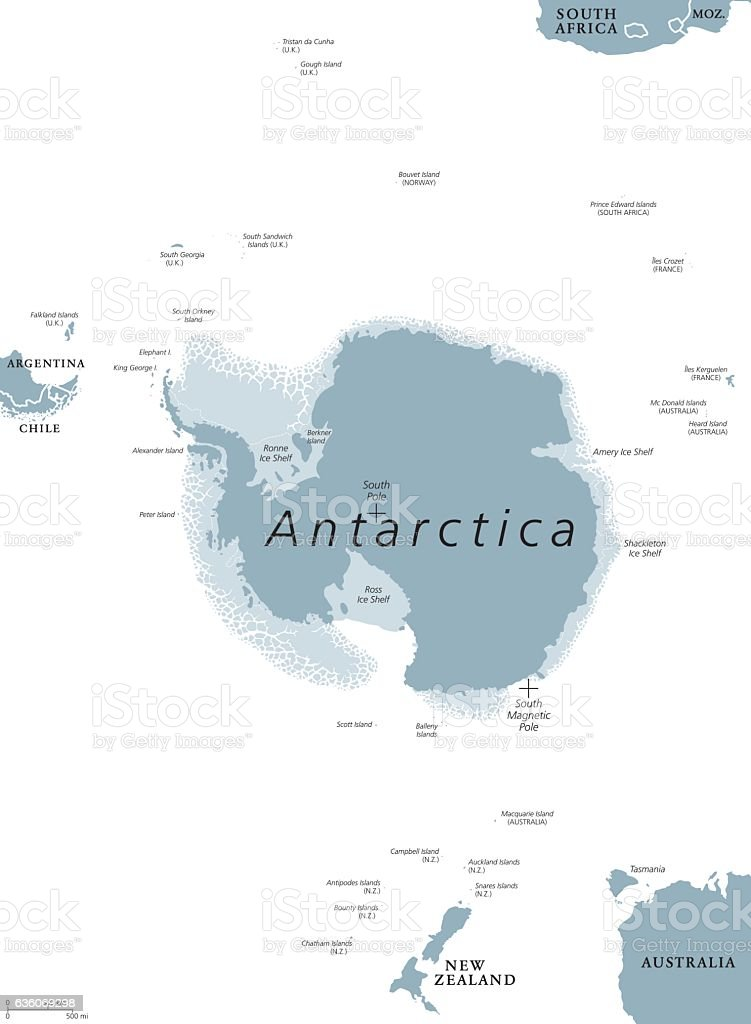 Antarctic region political map vector art illustration
