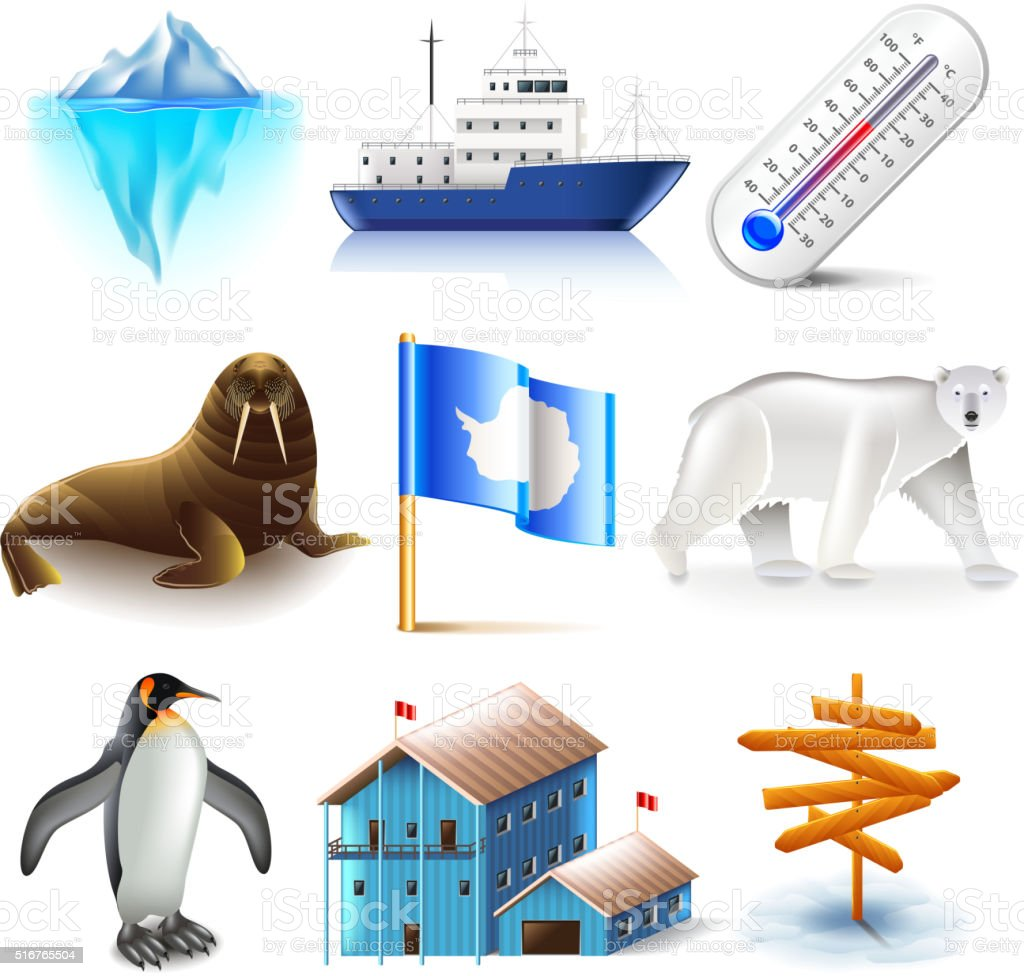 Antarctica icons vector set vector art illustration