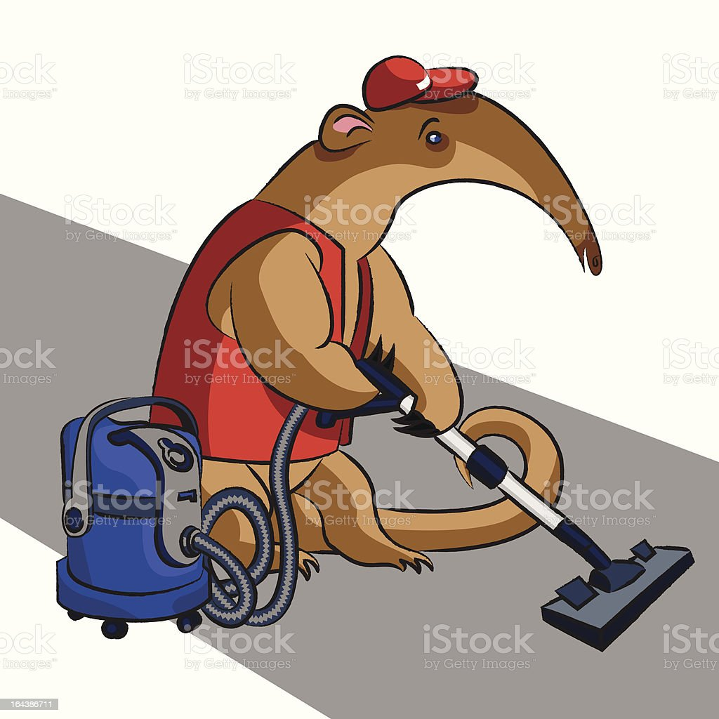 Anteater and vacuum cleaner vector art illustration