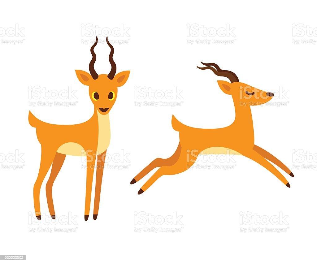 Antelope cartoon illustration. vector art illustration