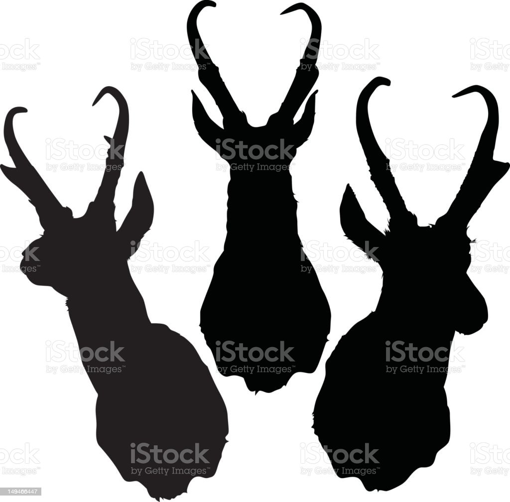 Antelope Head Silhouettes royalty-free stock vector art