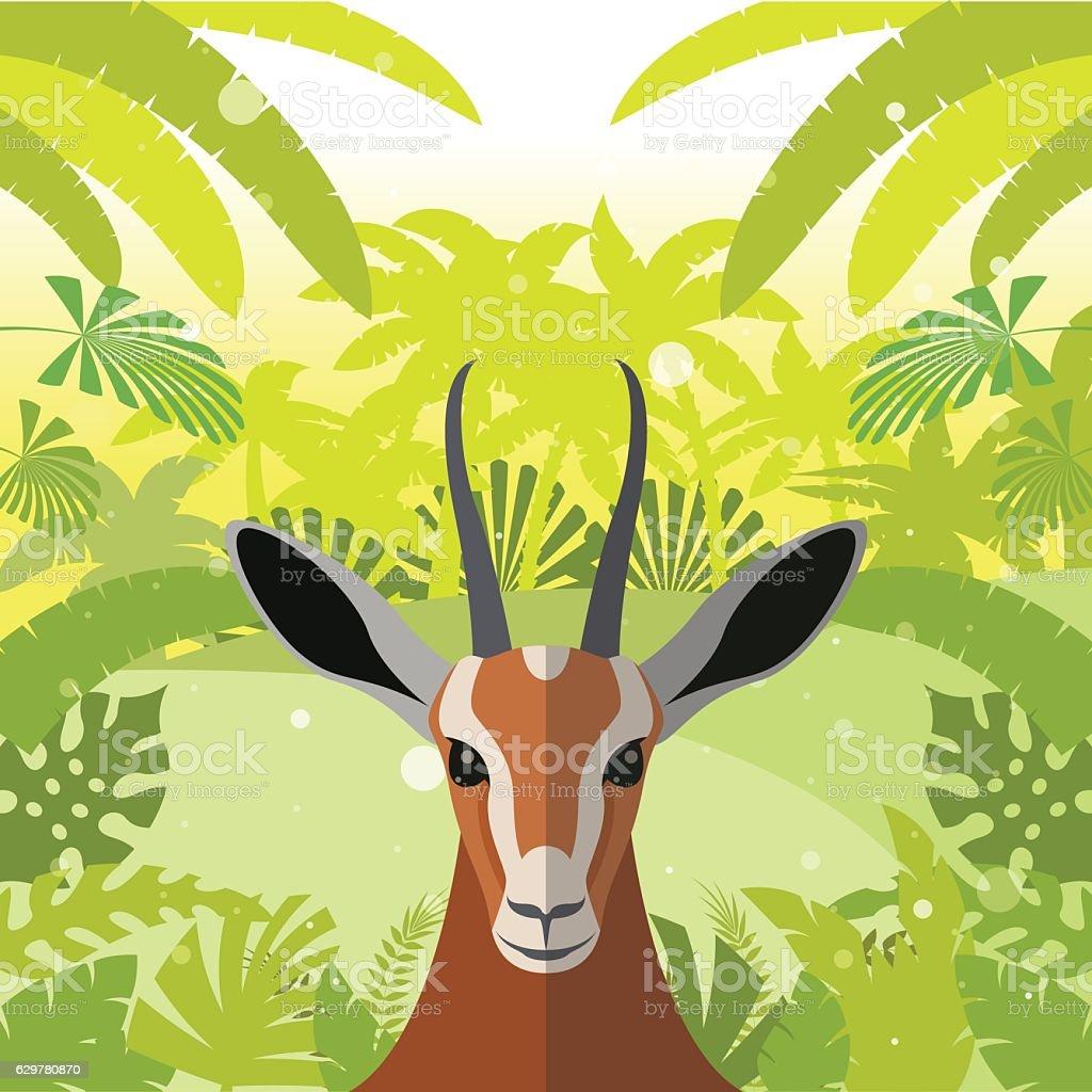 Antelope on the Jungle Background vector art illustration