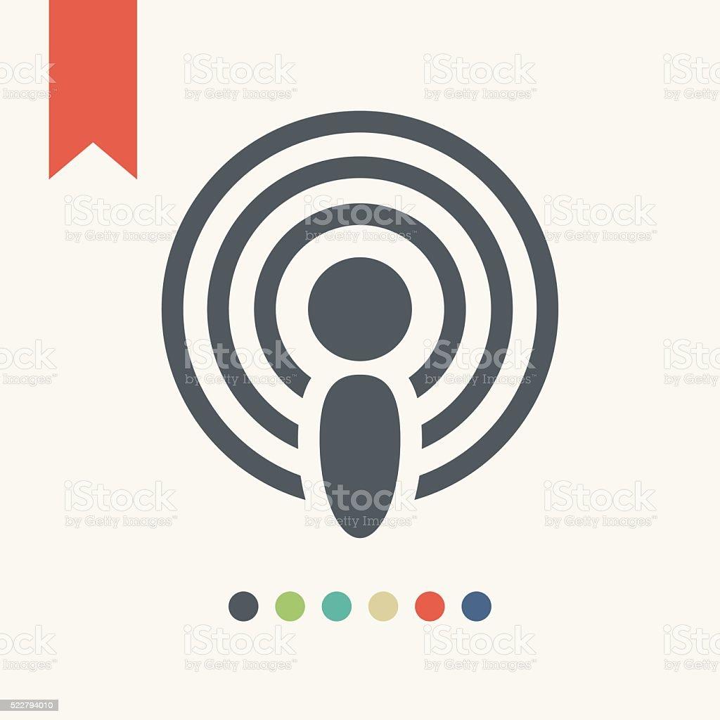 Antenna broadcasting icon vector art illustration