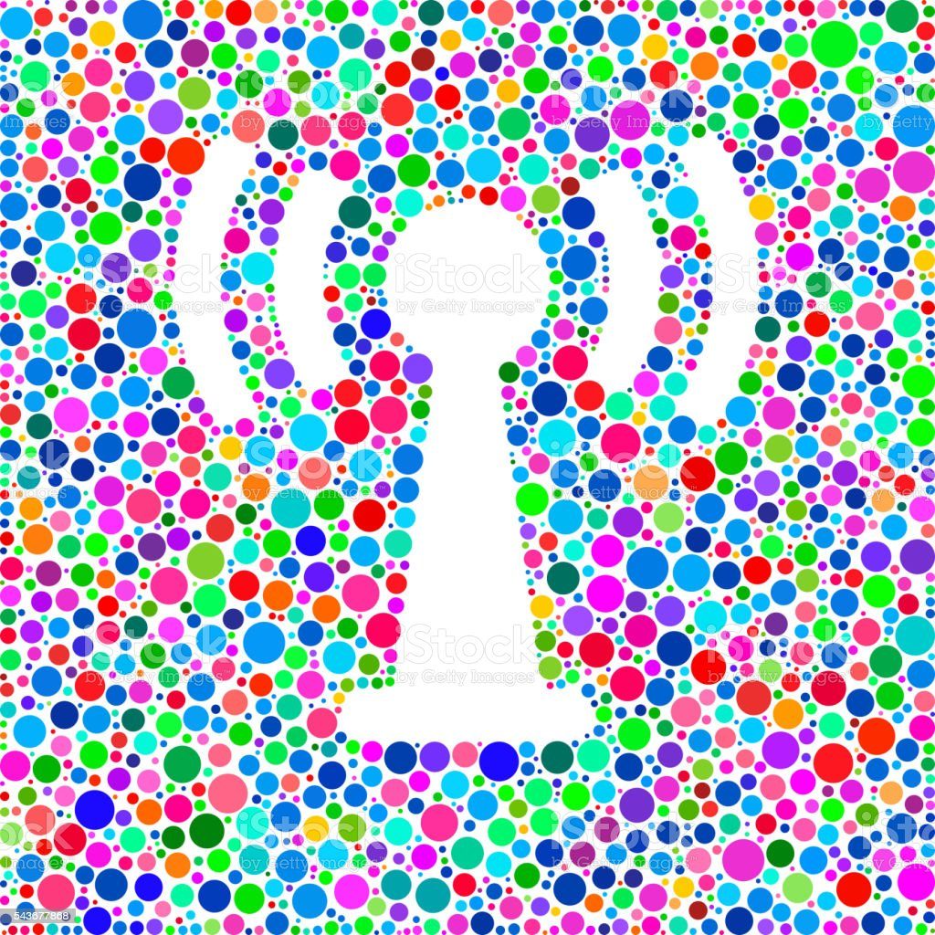Antenna Connection Icon on Color Circle Background Pattern vector art illustration