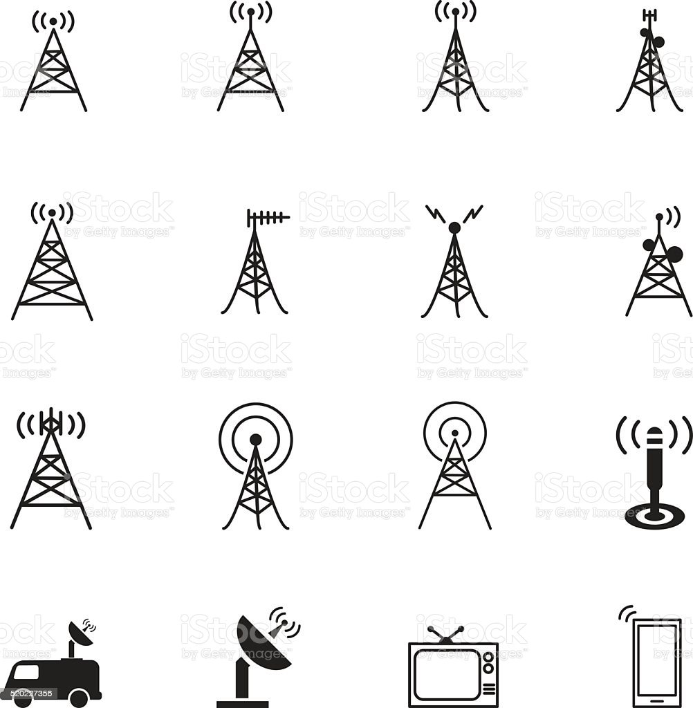 Antenna icons vector art illustration