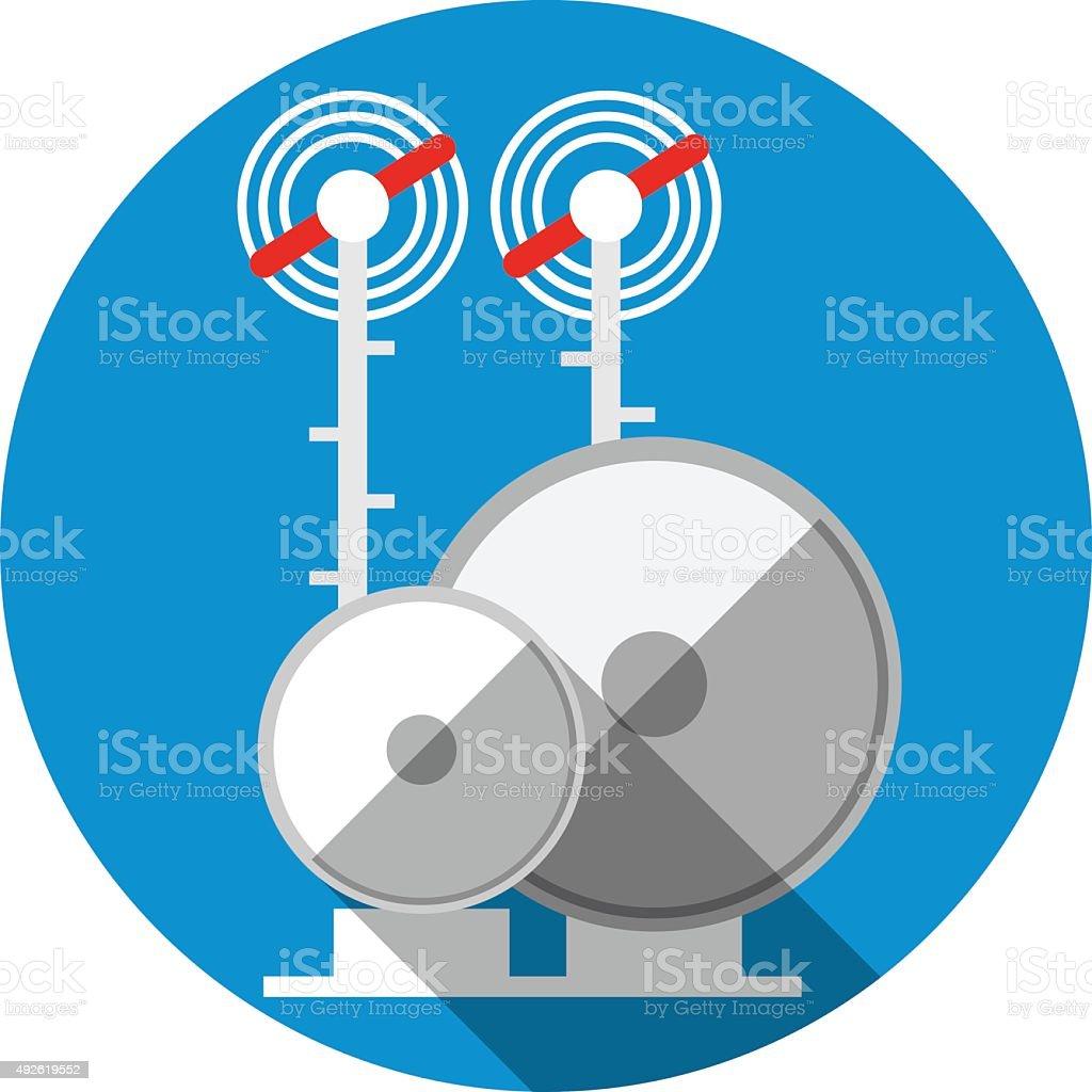 Antenna Tower. Flat Icon vector art illustration