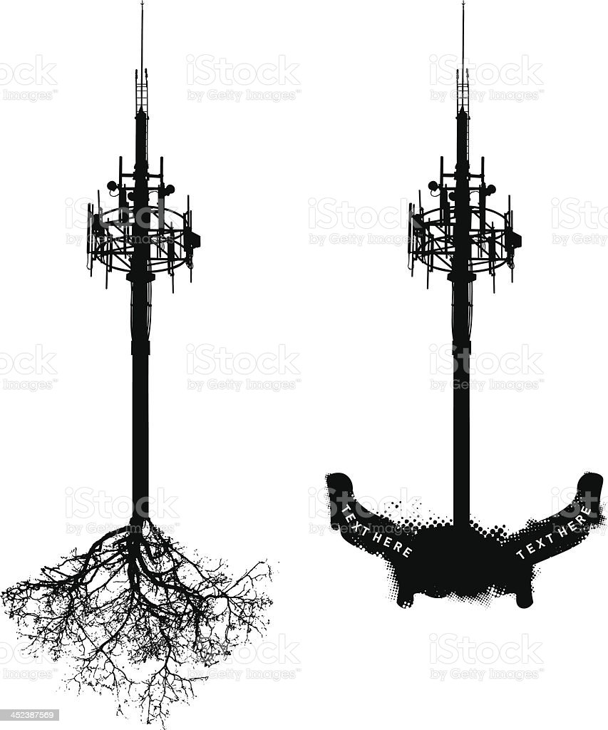 antenna with roots and banners royalty-free stock vector art