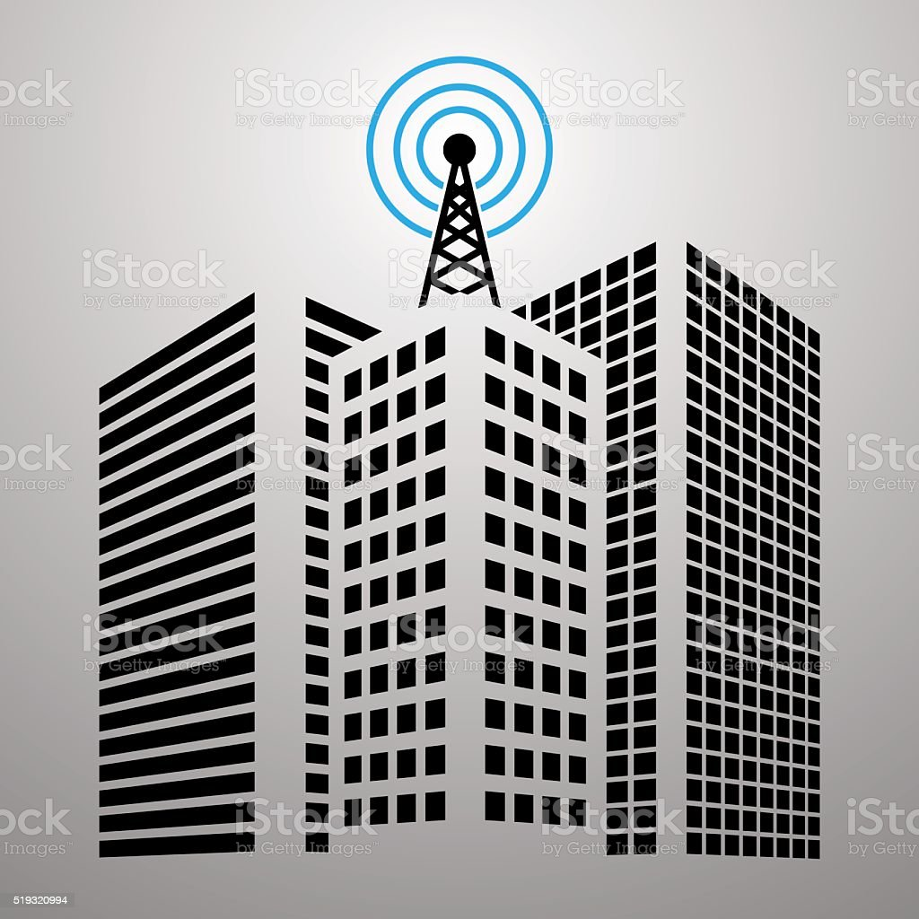 Antennas on buildings in the city icon set vector art illustration