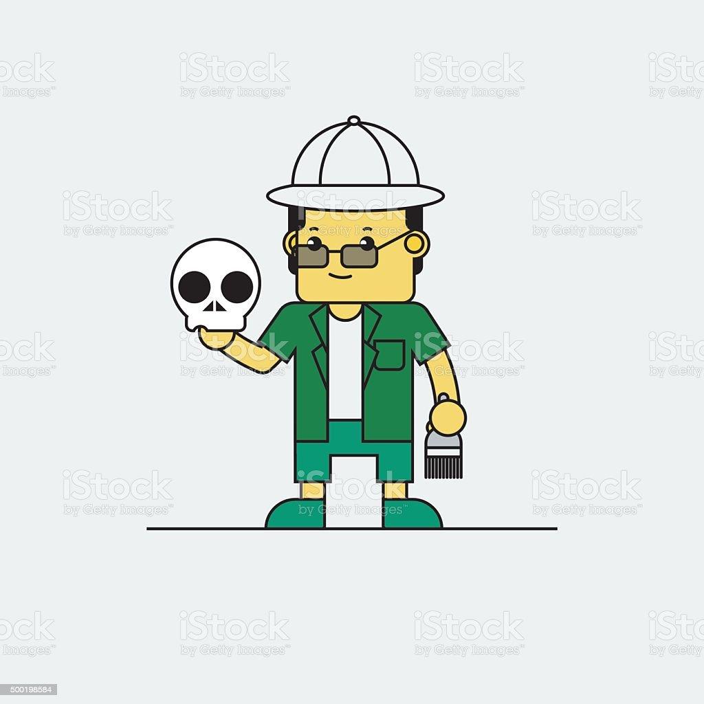 Anthropologist holding skull in hand. vector art illustration