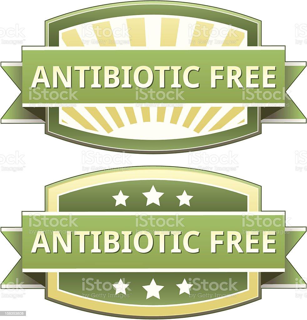 Antibiotic free food label vector art illustration