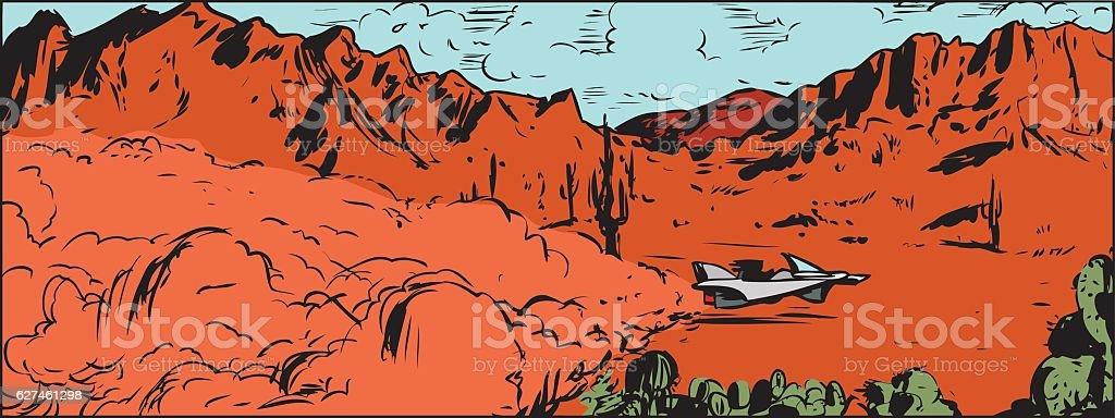 Anti-Gravity Racer in Desert vector art illustration