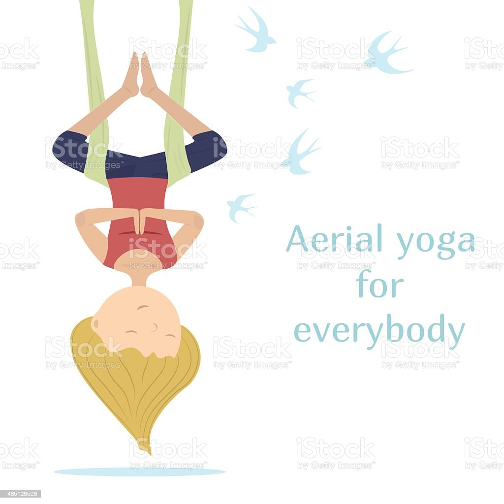 Antigravity yoga. Fly like bird vector art illustration