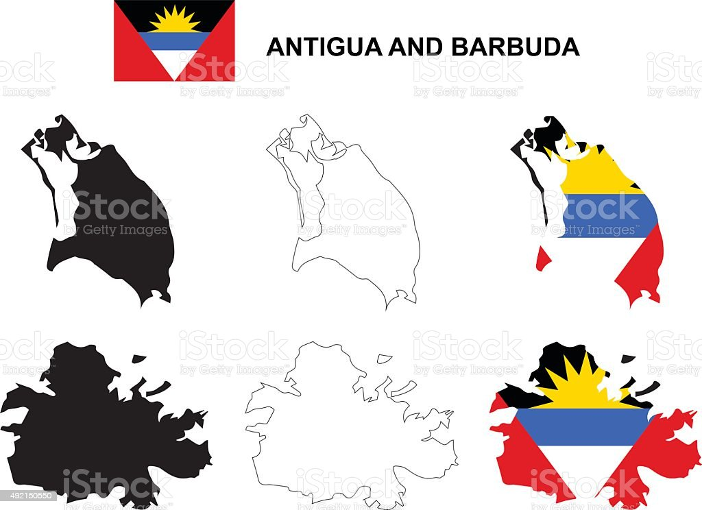 Antigua and Barbuda map vector, Antigua and Barbuda flag vector vector art illustration