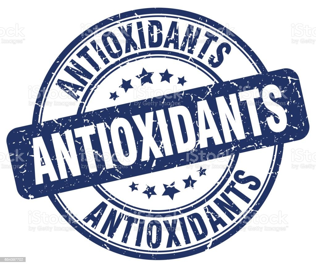 antioxidants blue grunge round vintage rubber stamp vector art illustration