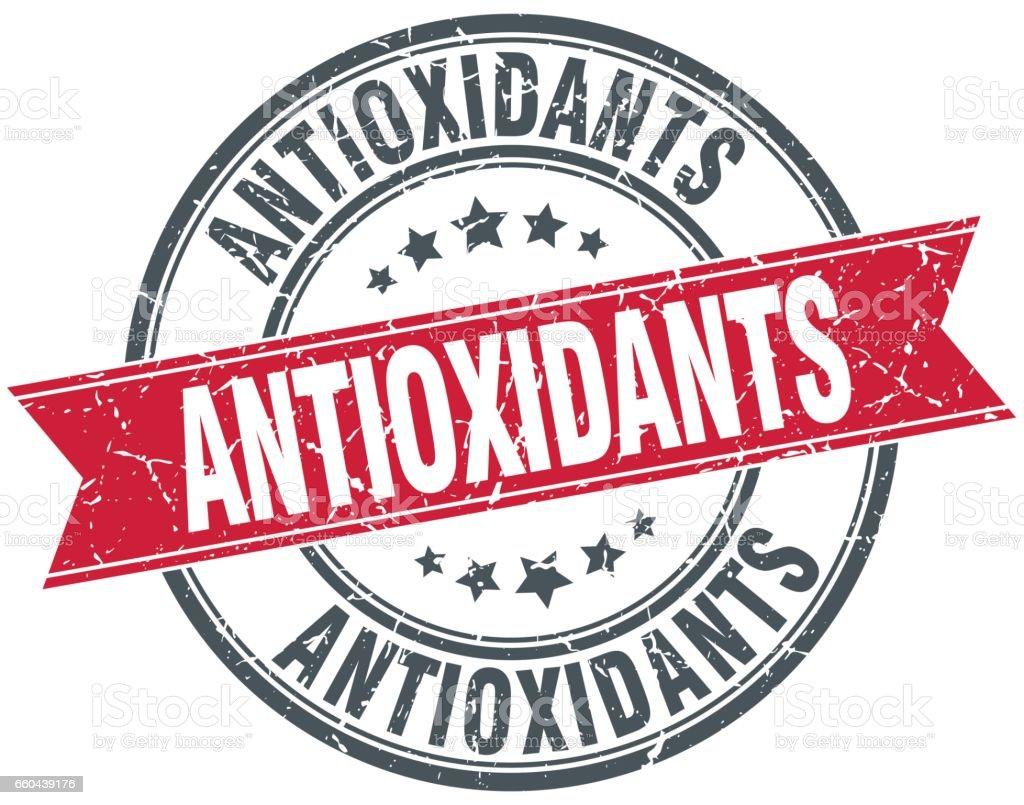 antioxidants red round grunge vintage ribbon stamp vector art illustration