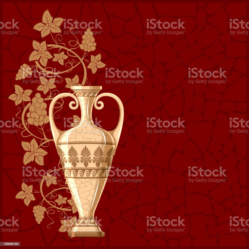 Antique amphora with grapes and leaf royalty-free stock vector art
