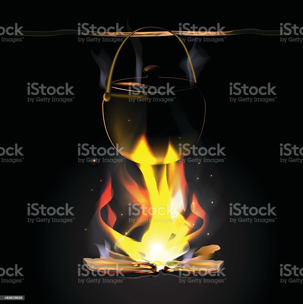 Antique black kettles on an open fire royalty-free stock vector art