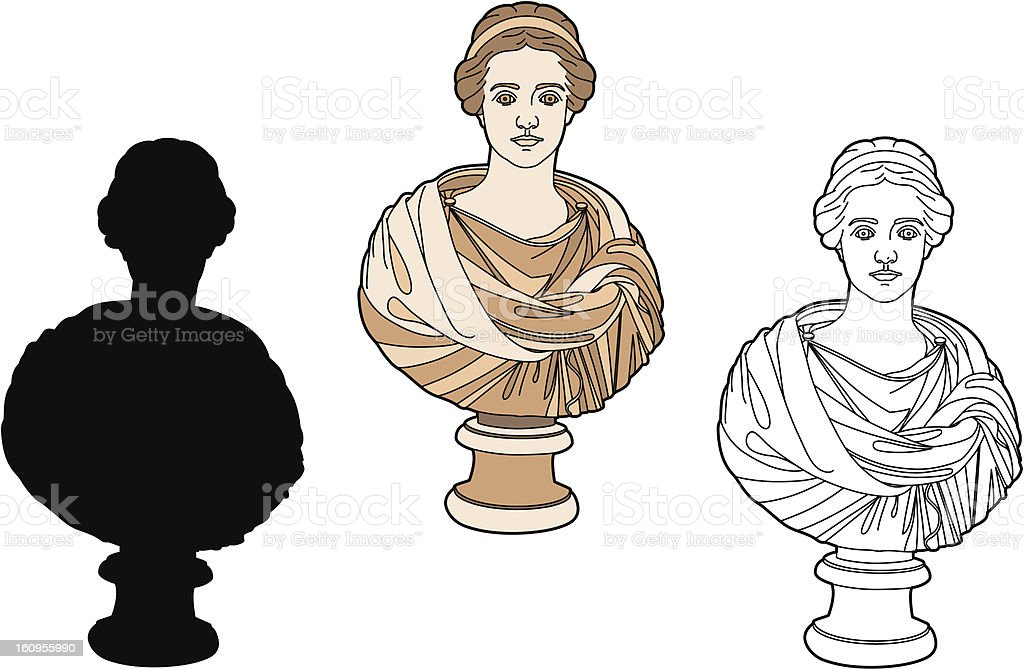 Antique bust of a woman royalty-free stock vector art