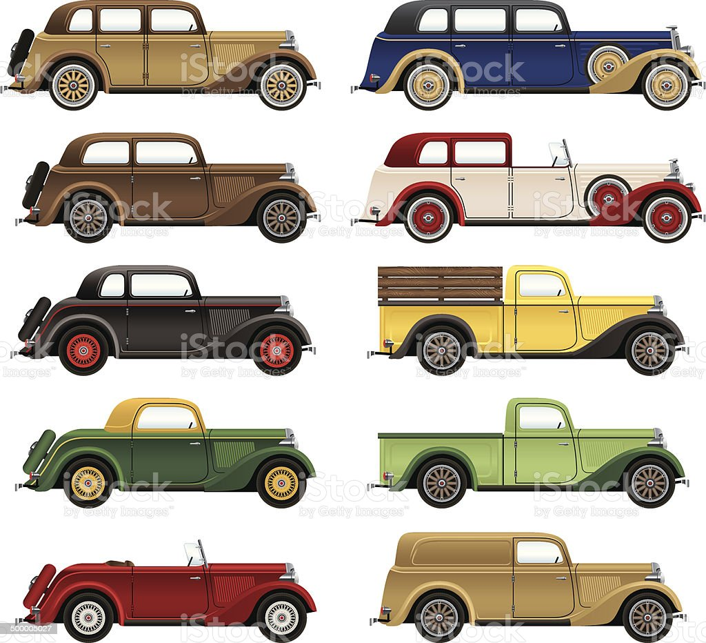 Antique Cars vector art illustration