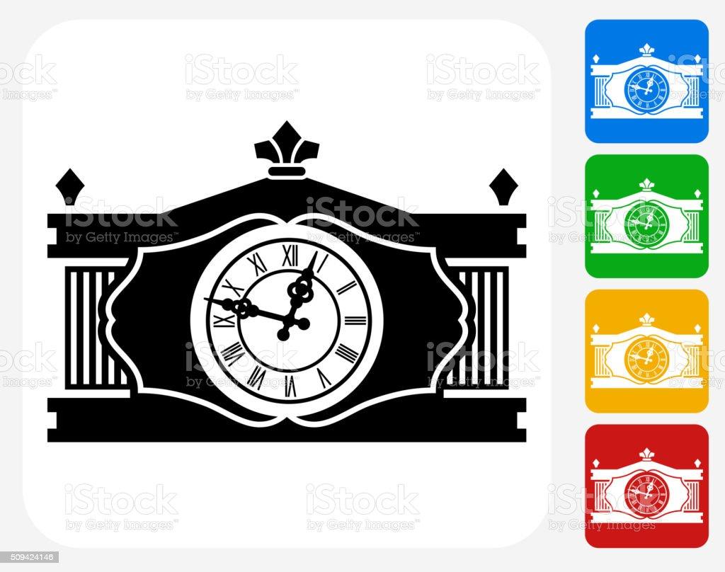 Antique Clock Icon Flat Graphic Design vector art illustration