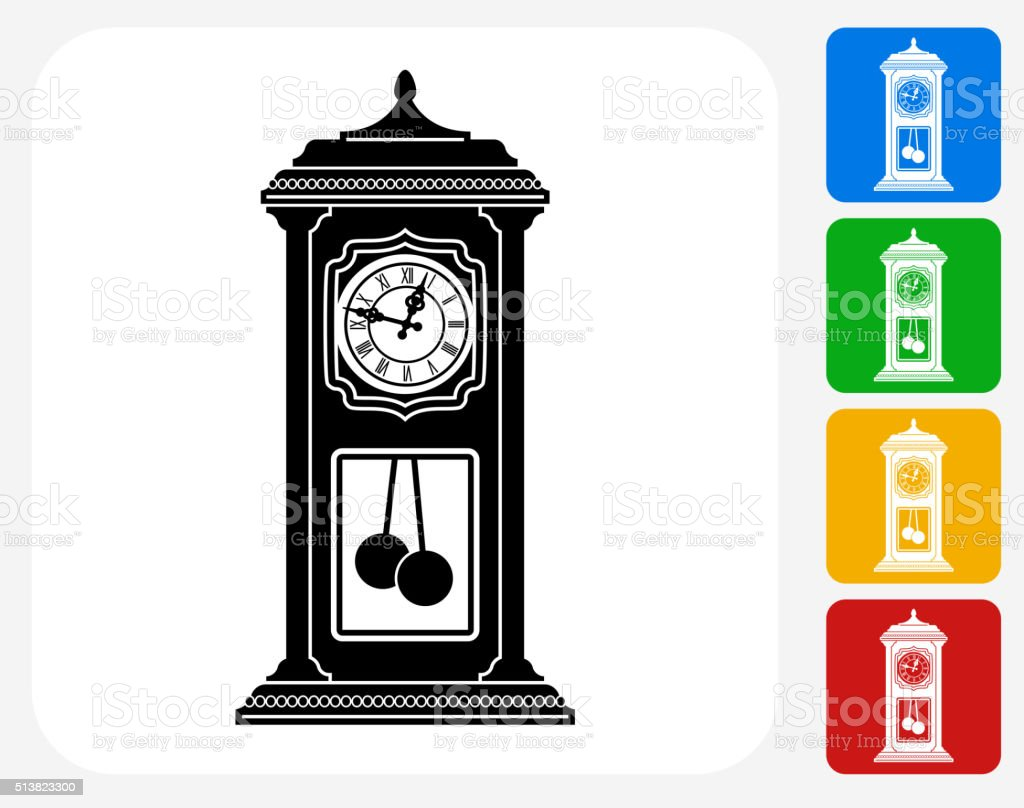 Antique Clock Icon Flat Graphic Design vector art illustration
