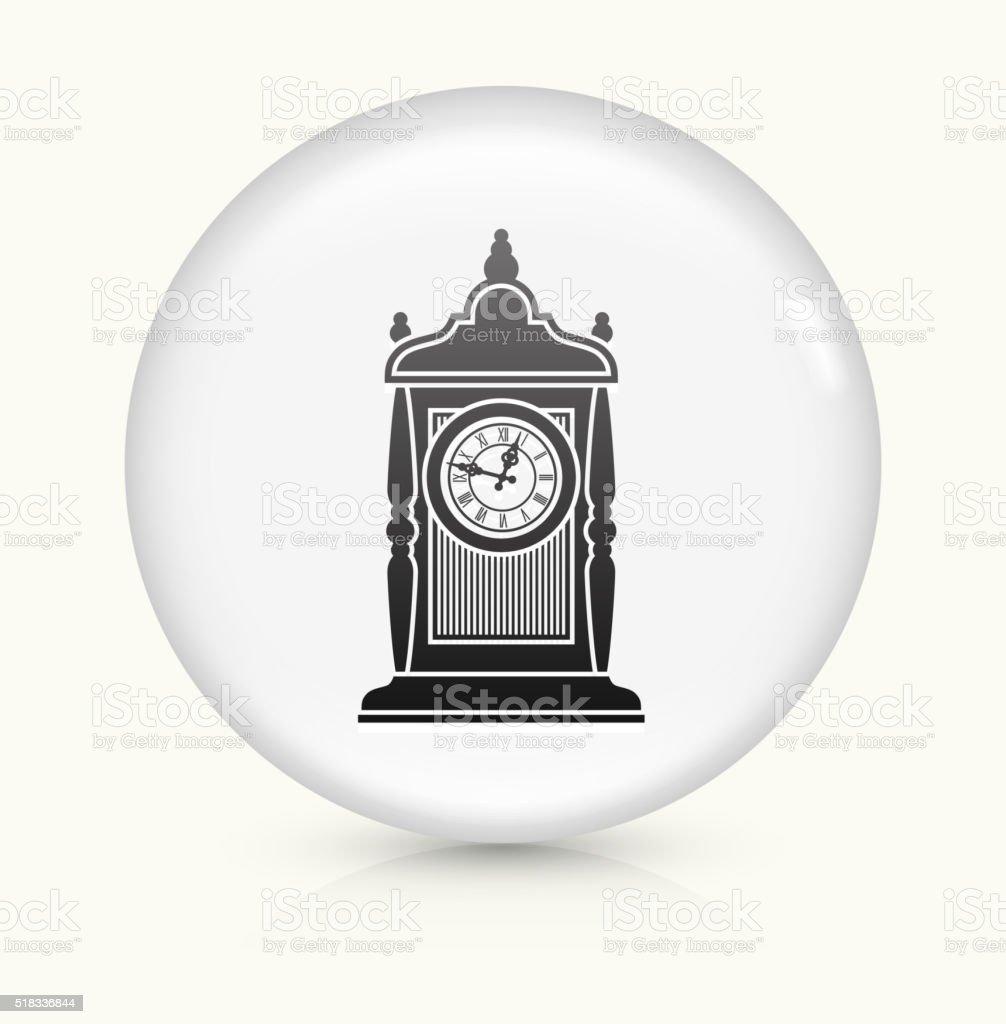 Antique Clock icon on white round vector button vector art illustration