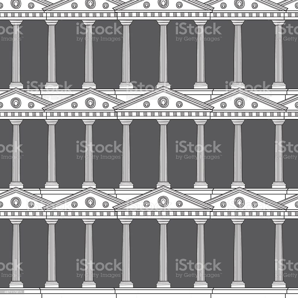Antique colonnade pattern vector art illustration