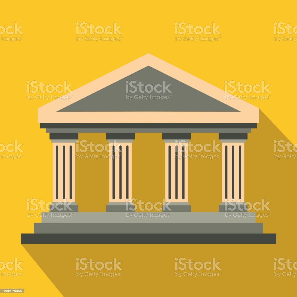Antique columns icon in flat style vector art illustration