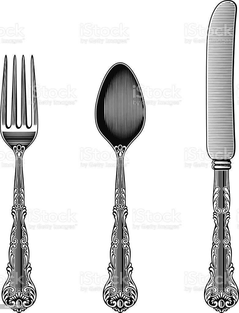 Antique Cutlery vector art illustration