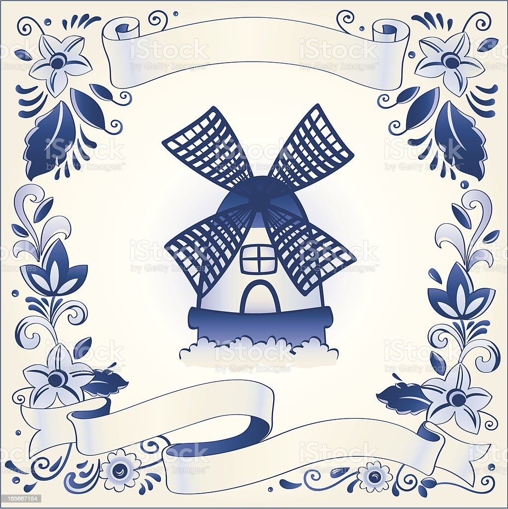 Antique Delft blue banner template royalty-free stock vector art