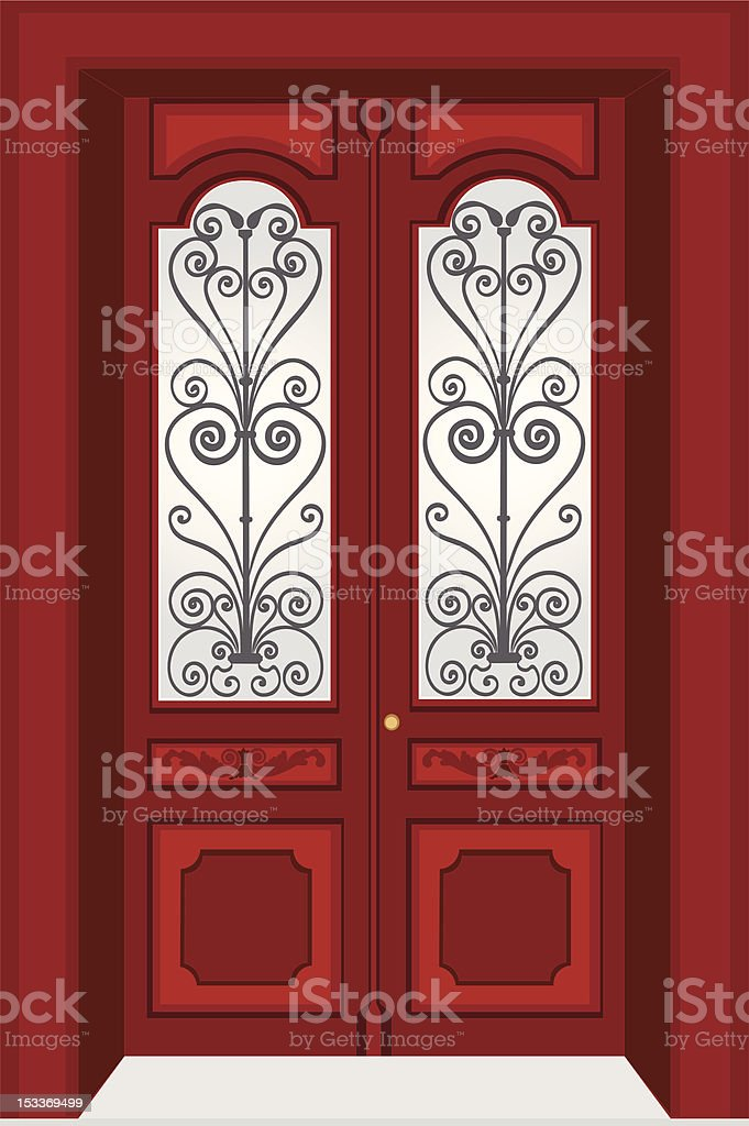 Antique door vector art illustration