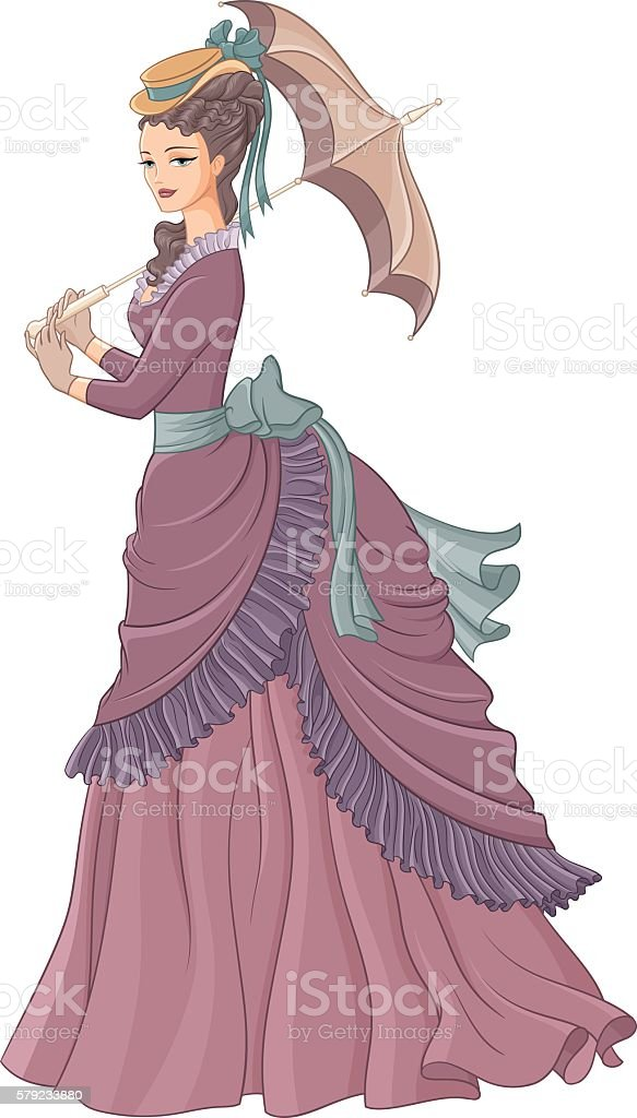 Antique dressed lady with umbrella. Victorian style fashion vect vector art illustration