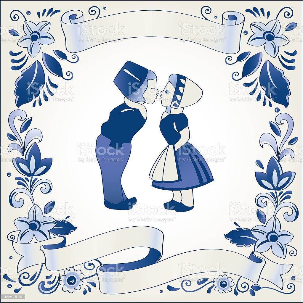 Antique Dutch Delft Blue banner template vector art illustration