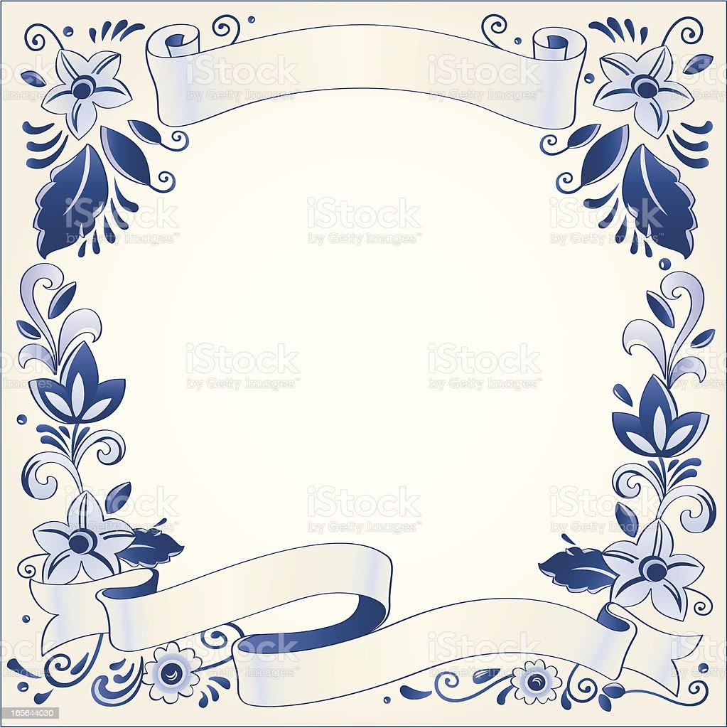 Antique Dutch Delft Blue banner template royalty-free stock vector art