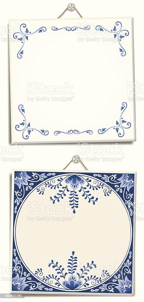 Antique Dutch Delft Blue text tiles vector art illustration