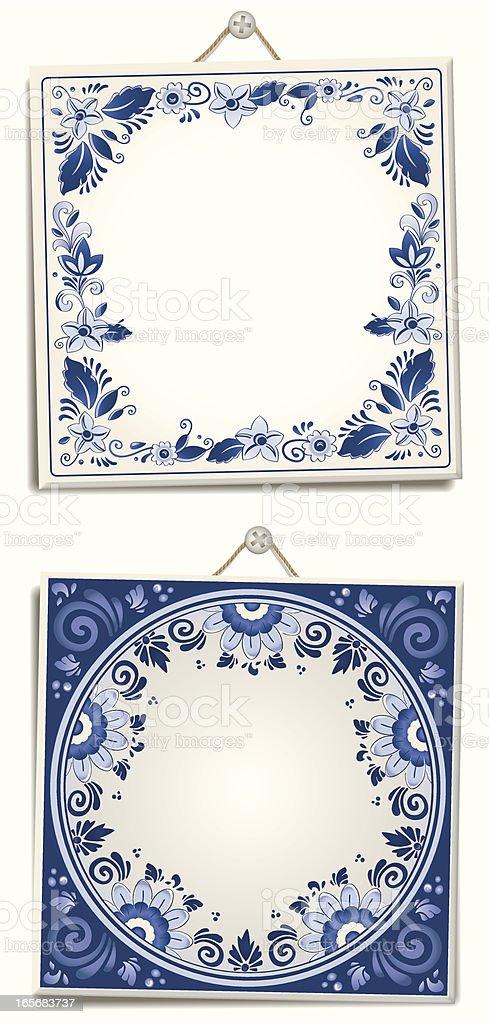Antique Dutch Delft Blue text tiles royalty-free stock vector art