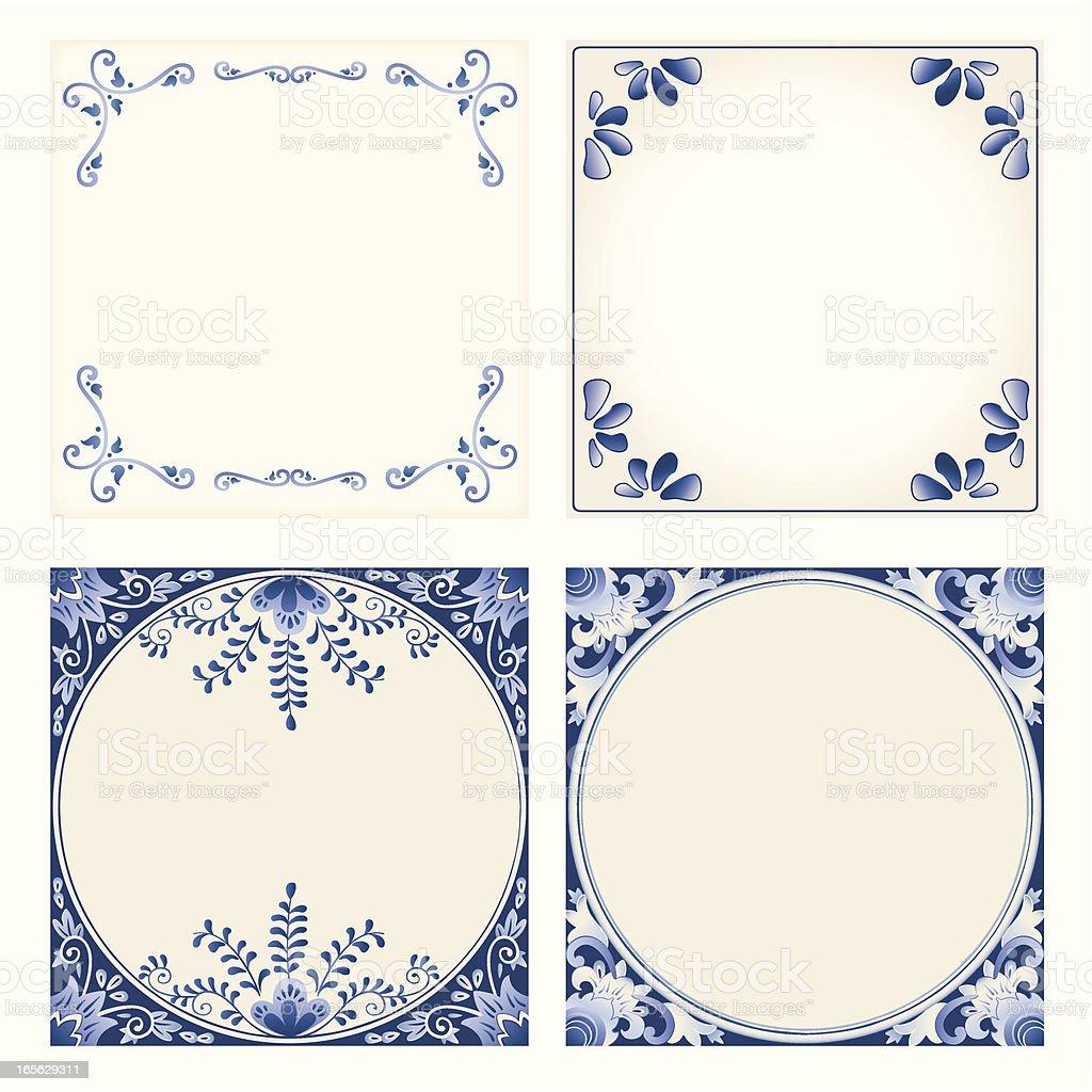 Antique Dutch Delft Blue tiles vector art illustration