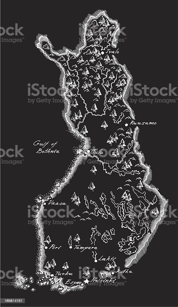 Antique Finland Map royalty-free stock vector art