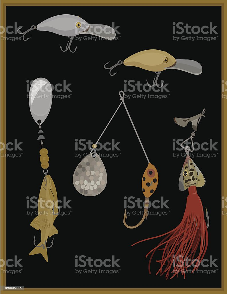 Antique Fishing Lures royalty-free stock vector art