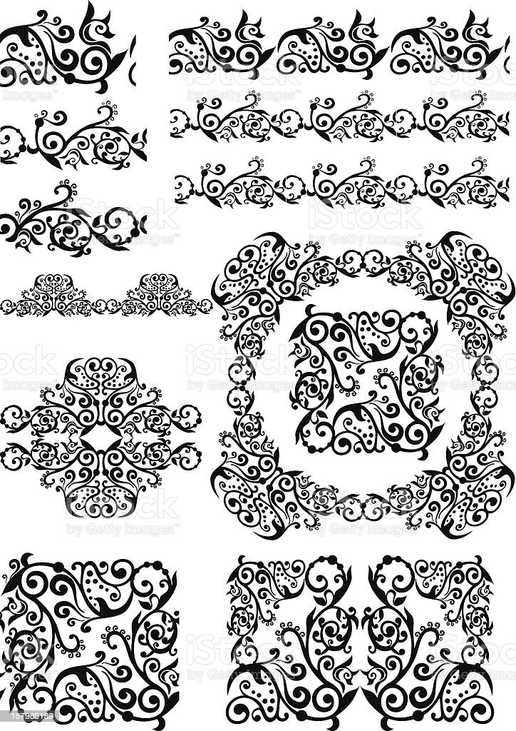 antique floral abstract frames, borders, brushes royalty-free stock vector art