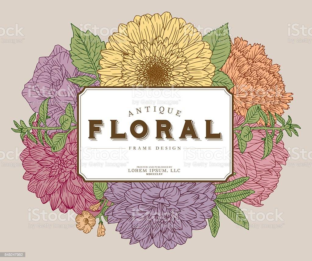 Antique Floral Frame Design Template vector art illustration